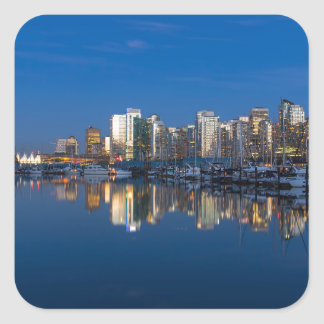 Blue Hour Reflection of Vancouver BC Square Sticker