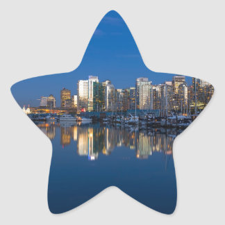 Blue Hour Reflection of Vancouver BC Star Sticker