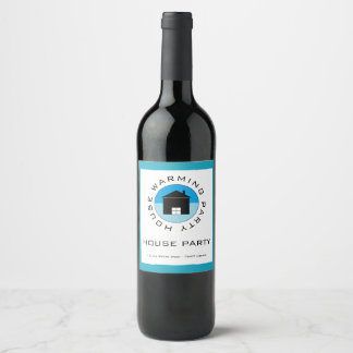 Blue House Logo, Housewarming Party Wine Label