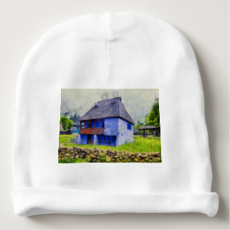 Blue house painting baby beanie