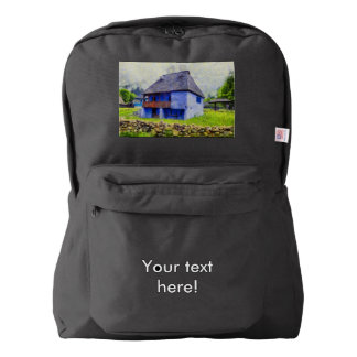 Blue house painting backpack