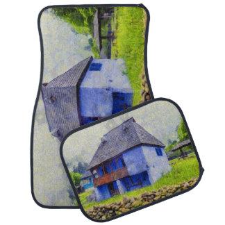 Blue house painting car mat