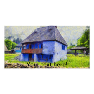 Blue house painting card