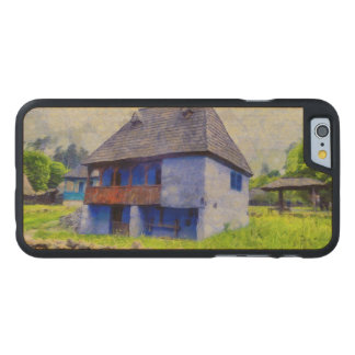 Blue house painting carved maple iPhone 6 case
