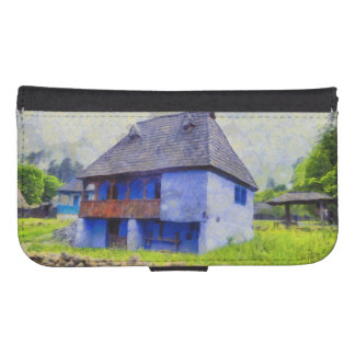 Blue house painting samsung s4 wallet case