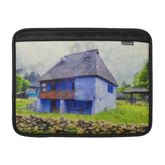 Blue house painting sleeve for MacBook air