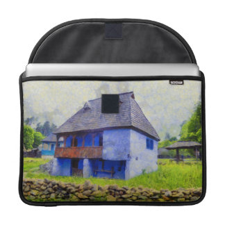 Blue house painting sleeve for MacBooks