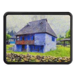 Blue house painting trailer hitch cover