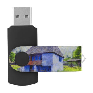 Blue house painting USB flash drive