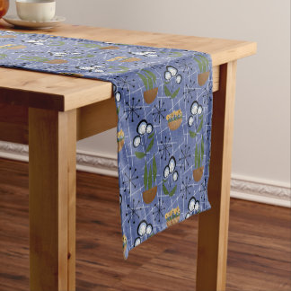 Blue, Houseplants | Mid-Century Modern Short Table Runner