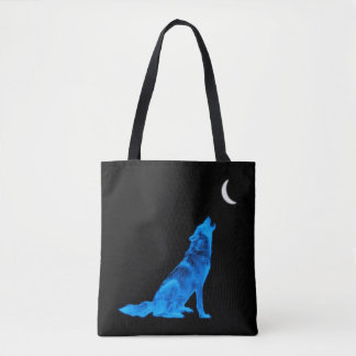 Blue Howling Wolf Tote Bag