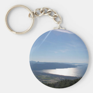 Blue Hues and Beautiful Bays Basic Round Button Keychain
