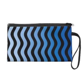 Blue Hues Wavy Stripes Wristlet Purses