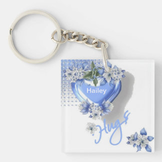 Blue Hugs Double-Sided Square Acrylic Keychain