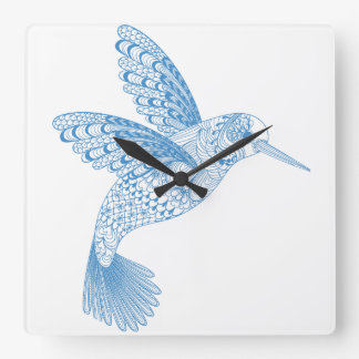 Blue Hummingbird bird feathers Square Wall Clock