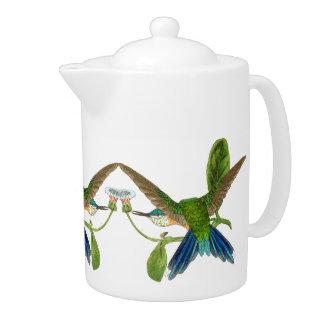 Blue Hummingbird Birds Animals Flowers Teapot