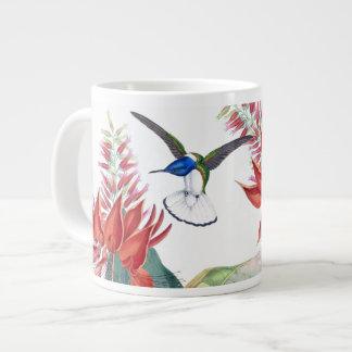 Blue Hummingbird Birds Red Flowers Jumbo Mug