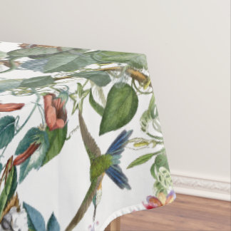 Blue Hummingbird Birds Tropical Flowers Tablecloth