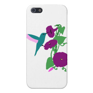Blue Hummingbird & Morning Glory Vine Case For The iPhone 5
