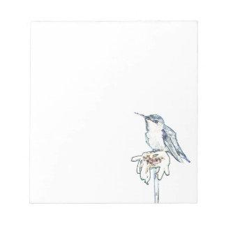 Blue Hummingbird on Shasta Daisy Notepad