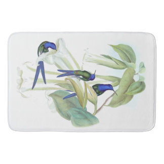 Blue Hummingbirds Birds Animals Flowers Bath Mat