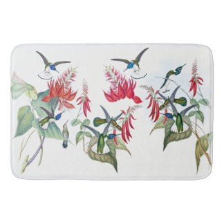 Blue Hummingbirds Birds Red Flowers Bath Mat