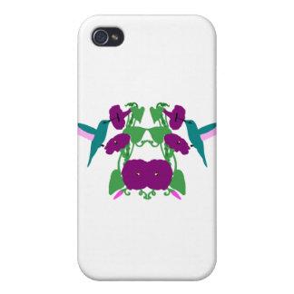 Blue Hummingbirds & Morning Glory Vine iPhone 4 Covers
