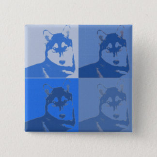 Blue Husky  Button