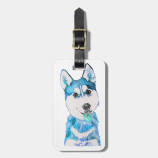Blue Husky Pup Watercolour Bag Tag