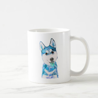 Blue Husky Pup Watercolour Coffee Mug