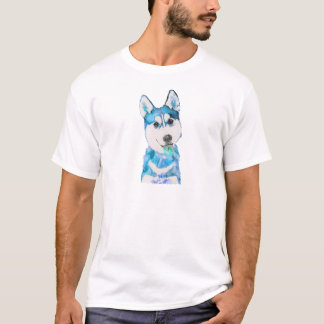 Blue Husky Pup Watercolour T-Shirt