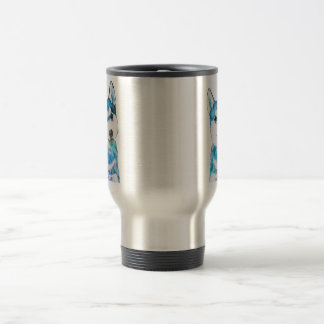 Blue Husky Pup Watercolour Travel Mug