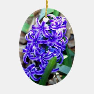 Blue Hyacinth Flower Ceramic Oval Ornament