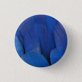 Blue Hyacinth Macaw Feather Design 1 Inch Round Button