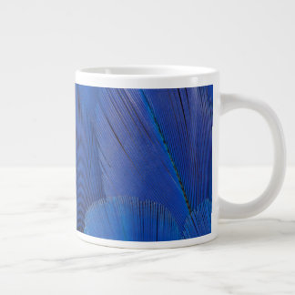 Blue Hyacinth Macaw Feather Design Large Coffee Mug