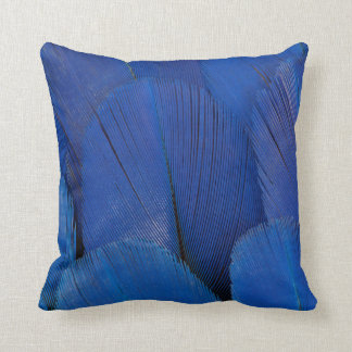 Blue Hyacinth Macaw Feather Design Throw Pillow