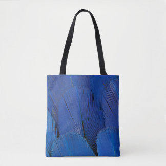 Blue Hyacinth Macaw Feather Design Tote Bag