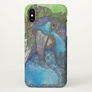 Blue Hyacinth Macaw iPhone X Case