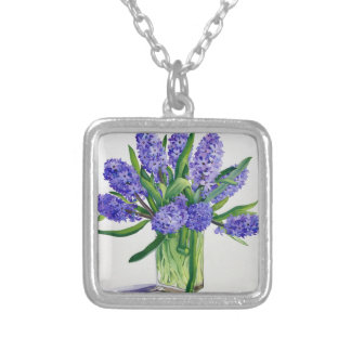 Blue Hyacinths Silver Plated Necklace