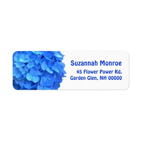 Blue Hydrangea Address Labels, White Return Address Label