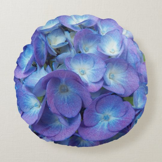 Blue Hydrangea Blossoms Floral Round Pillow