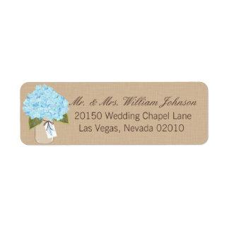 Blue Hydrangea Bouquet Wedding Label