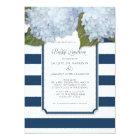 Blue Hydrangea Bridal Luncheon Navy Stripe Modern Card