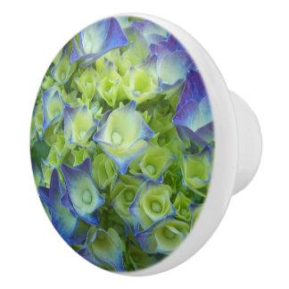 Blue Hydrangea Buds Floral Ceramic Knob