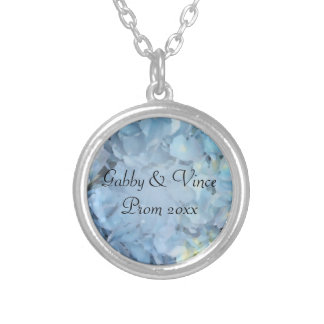 Blue Hydrangea Floral Prom Necklace