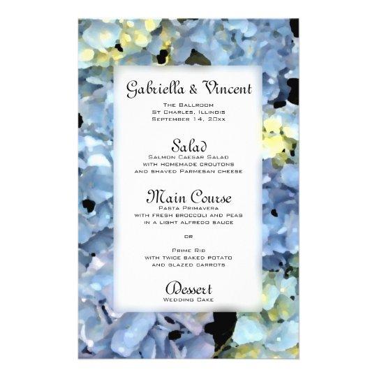 Blue Hydrangea Floral Wedding Menu