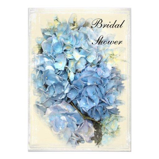 Blue Hydrangea Flower Bridal Shower Invitation