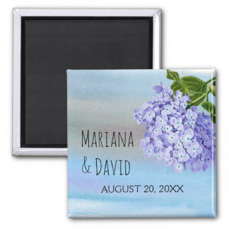 Blue hydrangea flower floral wedding Save the Date Magnet