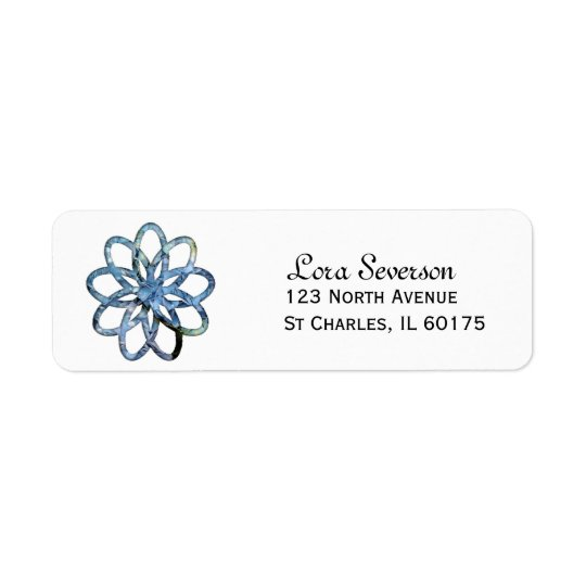 Blue Hydrangea Flower Return Address Label