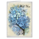 Blue Hydrangea Flower Will You Be My Bridesmaid Card